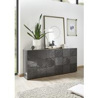 Messina Three Door Sideboard - Grey Gloss Lacquer Finish with Decorative Stencil