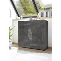 Messina Two Door High Sideboard - Grey Gloss Lacquer Finish with Decorative Stencil
