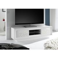 Luna Two Door TV Stand - Matt White with Flower Stencil by Andrew Piggott Contemporary Furniture