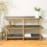 Fitzgerald Black And Gold Console Table / Shelf Unit by The Orchard