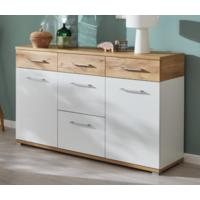 Tomas Two Door Five Drawer Sideboard - White and Navarra Oak Finish