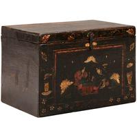 Painted Opera Trunk in Black Lacquer by Shimu