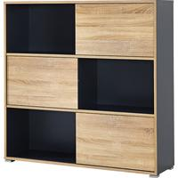 Alix Low Shelf Unit - Anthracite and Sonoma  oak finish by Andrew Piggott Contemporary Furniture