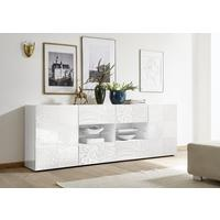 Messina Two Door/Four Drawer Sideboard - White Gloss Lacquer Finish with Decorative Stencil