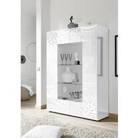 Messina Two Door Display Cabinet incl LED Spotlight - White Gloss Lacquer Finish with Decorative Stencil
