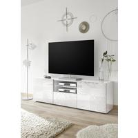 Messina Large TV Unit - White Lacquer Finish with Decorative Stencil