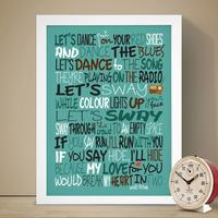 David Bowie Let's Dance Lyrics Art Print by Red Candy