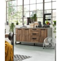 Manhattan  Sideboard Three Drawers/Three Doors - Grey and New Aged Oak  Finish by Andrew Piggott Contemporary Furniture