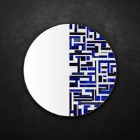 Abstract Half Blue Mosaic Mirror