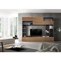 Novara TV and Wall Storage System  Anthracite Grey and Walnut  Finish by Andrew Piggott Contemporary Furniture
