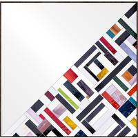 Abstract Square Half Mosaic Mirror