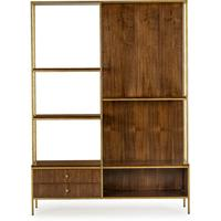 Rufus Dark Walnut Display Unit with Brass Frame