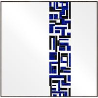 Square Single Blue Mosaic Mirror