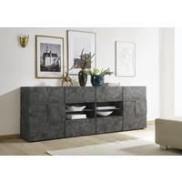 Treviso Long Sideboard - Two Doors/Four Drawers Anthracite Finish