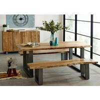 Baltic Live Edge Rectangular Dining Table 200cm Acacia Wood and Metal