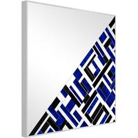 Abstract Square Blue Half Mosaic Mirror