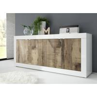 Urbino Four Door Sideboard - Gloss White and Natural Finish