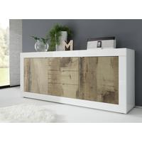 Urbino Collection Sideboard Two Doors/Three Drawers - Gloss White and Natural Finish