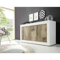 Urbino Three Door Sideboard - Gloss White And Natural Finish