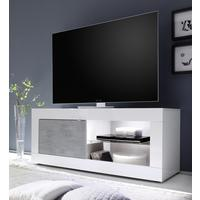 Urbino Collection Small TV Unit with Optional LED Spot Light - Gloss White and Grey Finish by Andrew Piggott Contemporary Furniture