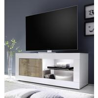 Urbino Collection Small TV Unit with Optional LED Spot Light - Gloss White and Natural Finish by Andrew Piggott Contemporary Furniture