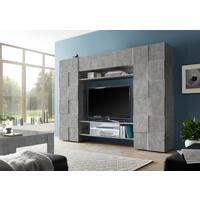 Treviso Wall Media Unit Including LED Spotlight - Grey Concrete  Finish by Andrew Piggott Contemporary Furniture