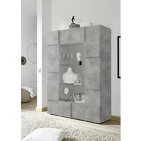 Treviso Two Door Display Vitrine with LED Spotlight - Grey Concrete Finish by Andrew Piggott Contemporary Furniture