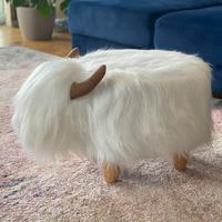 Winston the White Highland Cow Footstool by Red Candy