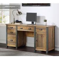Urban Elegance - Reclaimed Twin Pedestal Home Office Desk by Baumhaus Furniture