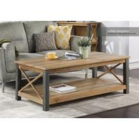 Urban Elegance Extra Large Coffee Table Reclaimed Wood and Aluminium
