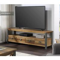 Urban Elegance - Reclaimed Extra Large Widescreen TV unit by Baumhaus Furniture