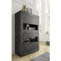 Urbino Collection Four Door Vitrine- Matt Black Marble Finish by Andrew Piggott Contemporary Furniture